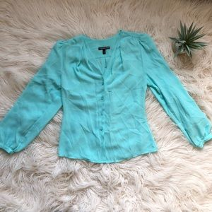 Turquoise Chiffon Collarless Button Up Blouse